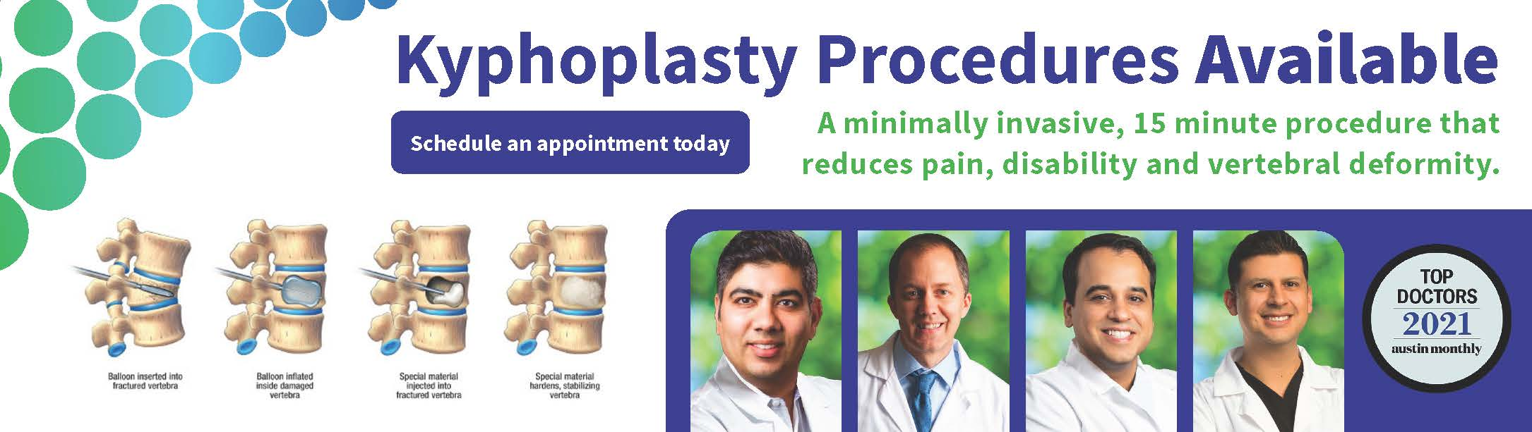 Kyphoplasty procedures available at a pain clinic near you